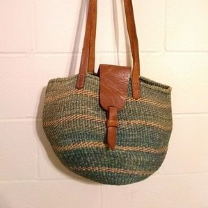 Vintage Kenya Bag Sisal Woven Straw Tote